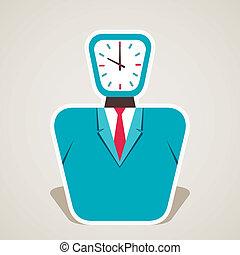 relógio, homens negócios, rosto