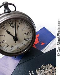 relógio, ligado, viagem documenta, e, passaporte
