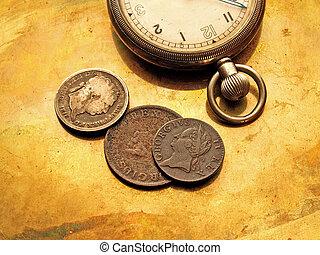 relógio, moedas, antigas