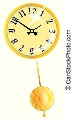 relógio, pêndulo oscilante, rosto