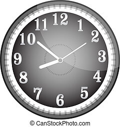 relógio, parede, rosto, vetorial, pretas, prata