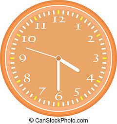 relógio, parede, vindima, isolado, vetorial, laranja, branca