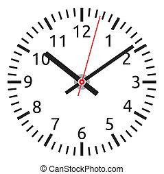 relógio, -, rosto, tim, vetorial, fácil, mudança