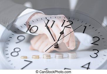 relógio, sobre, homem negócios, contagem, euro, moedas