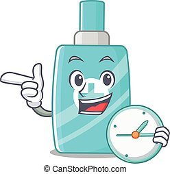 relógio, sorrindo, creme, desenho, mascote, ointment, conceito