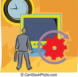 relógio, tela grande, computador, homem, vista traseira