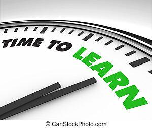 relógio, -, tempo, aprender