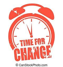 relógio, tempo, para, mudança
