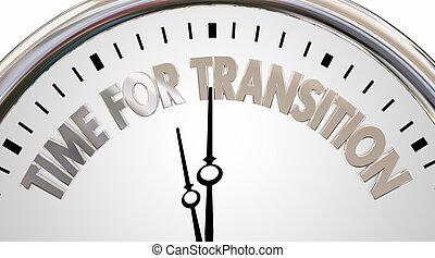 relógio, transição, ilustração, era, palavras, tempo, novo, mudança, 3d