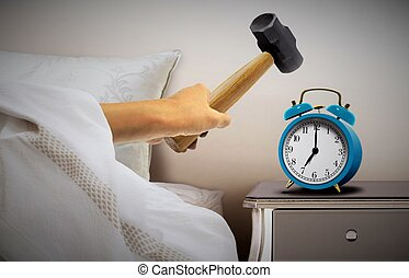 relógio, trenó, alarme, esmagando, martelo, homem