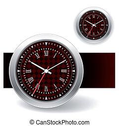 relógio, vermelho, ícones