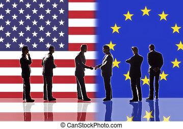 relações, entre, a, eua, e, europa