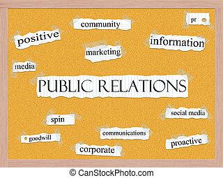 relações públicas, corkboard, palavra, conceito