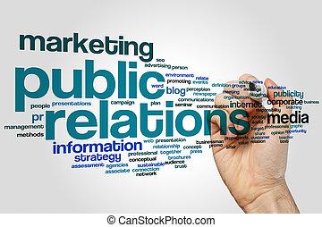 relações, palavra, público, nuvem