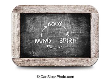 relación, de, cuerpo, mente, y, espíritu, escrito, en, el, pizarra