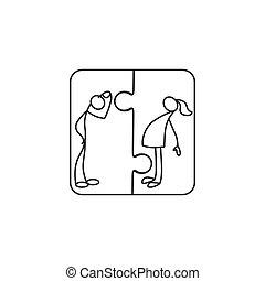 relación, entre, hombre, y, mujeres, icono