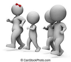 relación, interpretación, indica, familia , niñez, niños, sangre, 3d