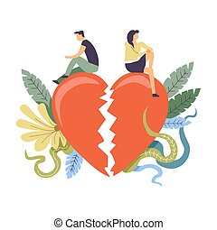 relación, interrupción, concepto, themed, pareja, ilustración, arriba