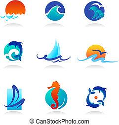 relacionado, iconos, mar, colección