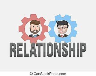 relacionamento, homem negócios, illustrati