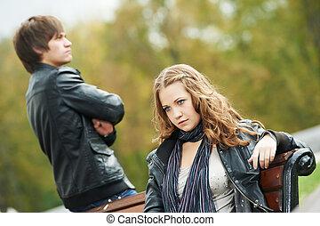 relacionamento, par, tensão, jovem