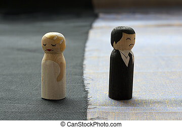 relacionamentos, conceito, esposa, processo, divórcio, quebrada, doodles, husbend