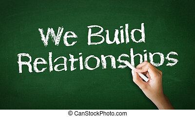 relacionamentos, giz, nós, construir, ilustração