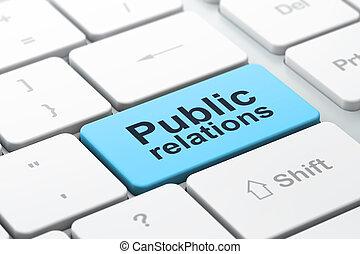 relaciones, computadora, publicidad, teclado, público, ...
