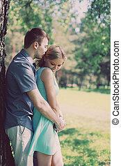 relaciones, concepto, foto, -, amor, pareja, bastante, vendimia
