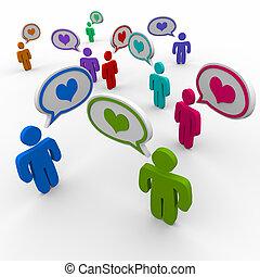 relaciones, corazón, amor, gente, símbolo, coquetear, discurso, burbujas