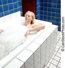relajante, baño, mujer
