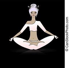 relajante, niña, en, yoga