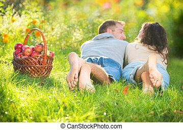 relajante, pareja, pasto o césped, comida, manzanas, otoño, ...