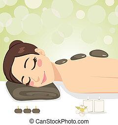 relajante, piedra, masaje