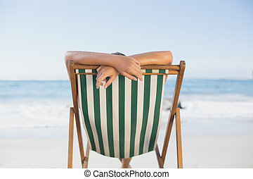 relajante, silla, playa, cubierta, mujer