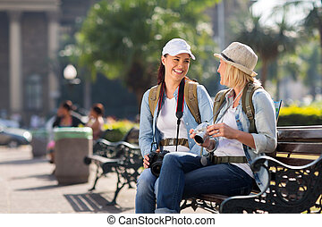 relajante, su, viaje, hembra, durante, turistas
