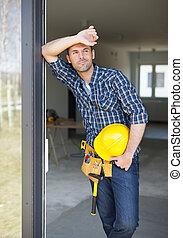 relajante, trabajo, trabajador, aire, construcción, fresco,...