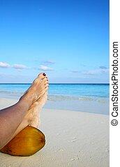 relajar, en, un, playa