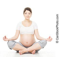 relajar, mujer se sentar, loto, yoga, embarazada, posición