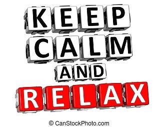 relajar, texto, botón, aquí, retener, calma, clic, bloque,...