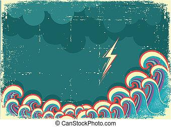 relampago, ondas, tempestade, oceânicos