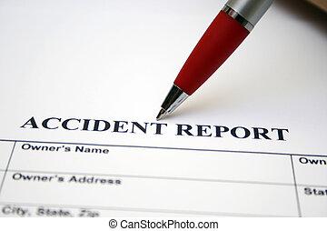 relatório, acidente