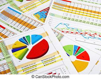 relatório anual, em, gráficos, e, diagramas
