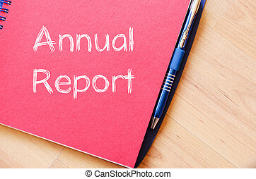 relatório anual, escreva, ligado, caderno