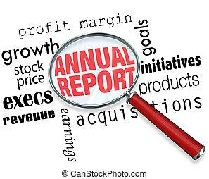 relatório anual, lupa, palavras, pesquisa, financeiro,...