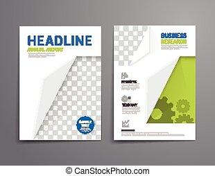 relatório, anual, revista, template., cartaz, size., a4, voador, vetorial, cobertura, desenho, esquema, folheto, livreto, educação