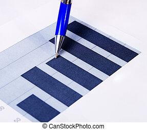 relatório, caneta, concept:, finanças, negócio
