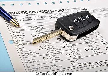 relatório,  car, choque, tecla, veículo