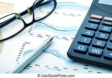 relatório, contabilidade, negócio