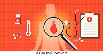 relatório, coração, médico, ataque, doença